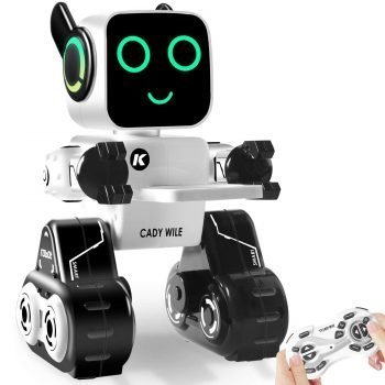IHBUDS Remote Control Toy Robot for Kids,Touch & Sound Control, Speaks, Dance Moves, Plays Music. Built-in Coin Bank. Programmable, Rechargeable RC Robot Kit for Boys, Girls All Ages - White/Black